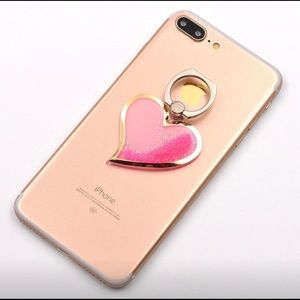Pink glitter filled heart phone ring stand
